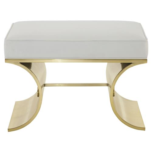 Crawford Hollywood Curved Brass Ivory Bench | Kathy Kuo Home