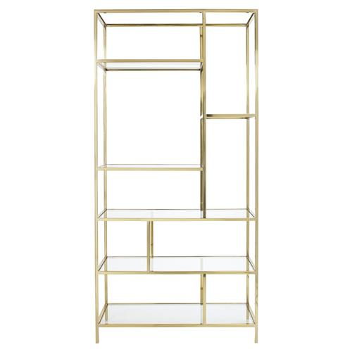 Crawford Hollywood Brass Open Geometry Tall Bookshelf | Kathy Kuo Home