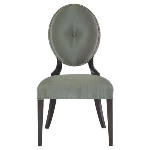 Crawford Hollywood Regency Grey Oval Polished Side Chair | Kathy Kuo Home