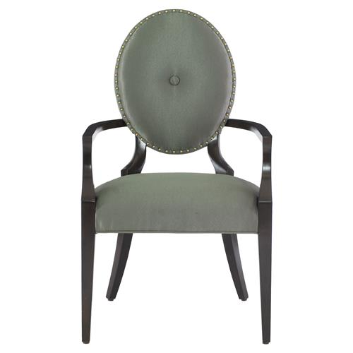 Crawford Hollywood Regency Grey Oval Polished Arm Chair | Kathy Kuo Home