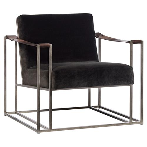 Gideon Industrial Brown Fabric Leather Strap Armchair | Kathy Kuo Home