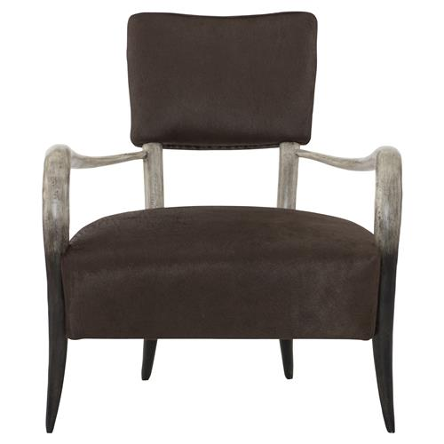 Pietra Regency Grey Horn Brown Leather Armchair | Kathy Kuo Home