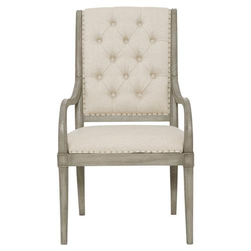 Michaela French Country Wood Upholstered Button Tufted Dining Arm Chair | Kathy Kuo Home