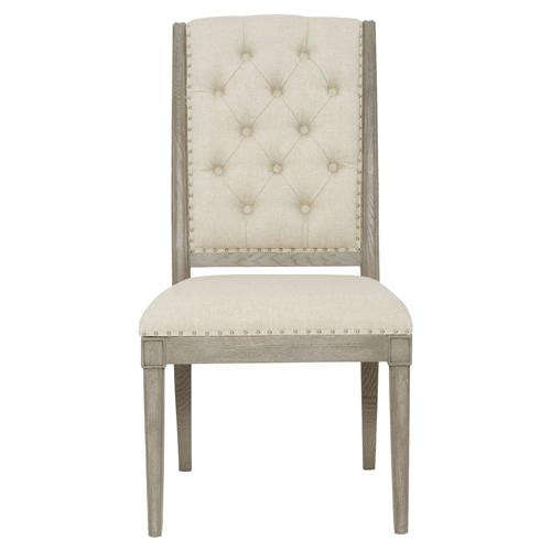 Michaela French Country Wood Upholstered Button Tufted Dining Side Chair | Kathy Kuo Home