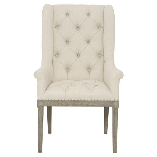 Michaela French Country Wood Upholstered Button Tufted White Dining Arm Chair | Kathy Kuo Home