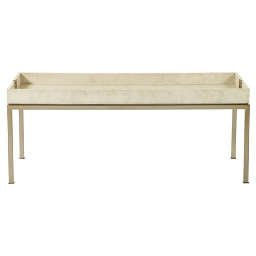 Coffee Table Tray Gold: Oriana Ivory Faux Shagreen Tray Gold Coffee Table