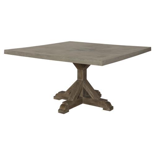 Lenore French Country Trestle Square Top Teak Outdoor Dining Table | Kathy Kuo Home