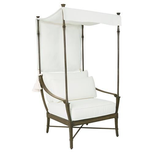 Jane Modern French White Canopy Metal Outdoor Lounge Chair | Kathy Kuo Home