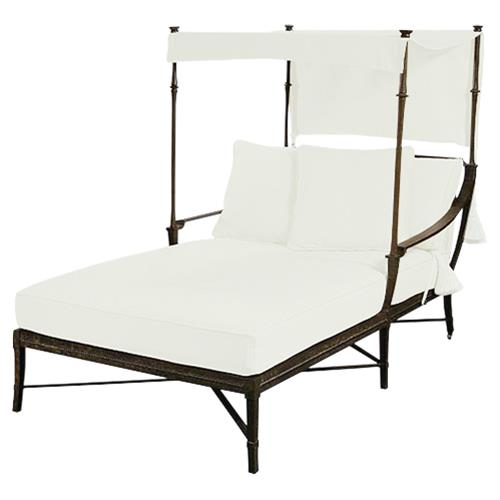 Jane Modern French White Canopy Metal Outdoor Double Chaise | Kathy Kuo Home