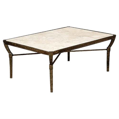 French Outdoor Coffee Table: Jane Modern French Stone Top Metal Outdoor Coffee Table