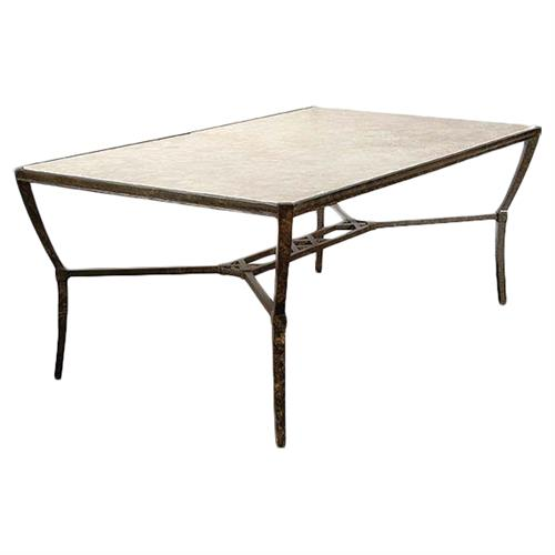 Jane Modern French Stone Top Metal Outdoor Dining Table | Kathy Kuo Home