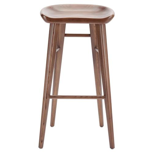 Jacob Modern Classic Brown Walnut Wood Counter Stool | Kathy Kuo Home
