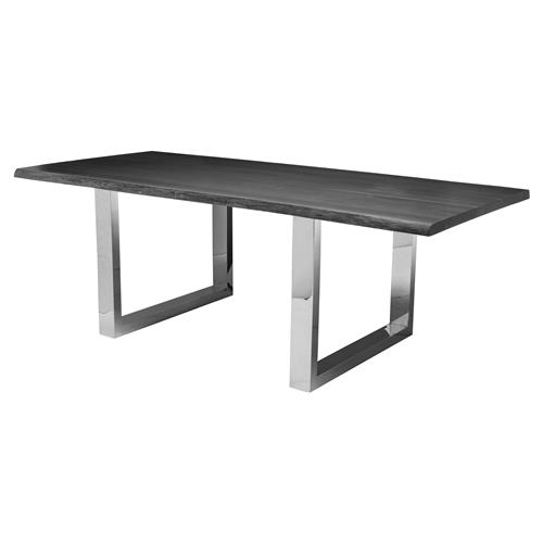 Zinnia Industrial Grey Oak Stainless Steel Dining Table - 78W | Kathy Kuo Home