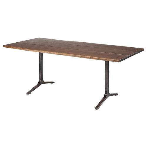 Amity Industrial Loft Dark Oak Black Dining Table - 78W | Kathy Kuo Home