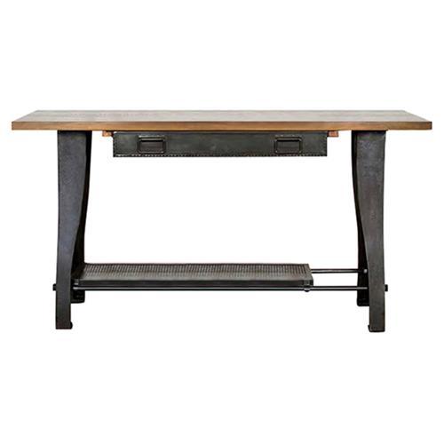 Rustic Iron Console Table ~ Kaden industrial loft rustic oak wood cast iron console table