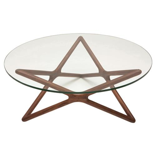 Centauri Modern Glass Top Wood Mid Century Base Coffee Table Kathy