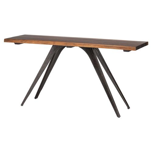 Raine Rustic Lodge Combination Wood Black Console Table | Kathy Kuo Home