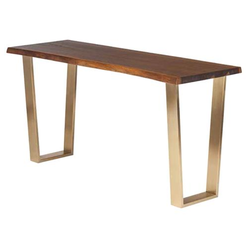 Cogsworth Industrial Brown Oak Gold Base Console Table | Kathy Kuo Home