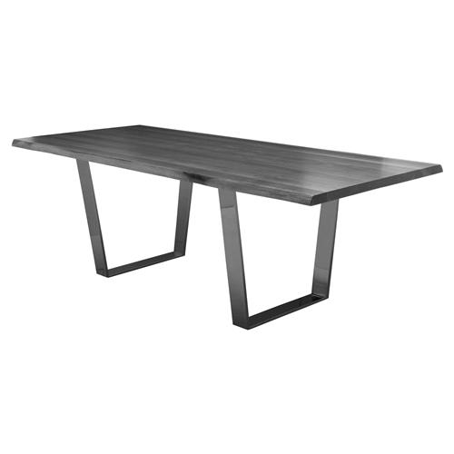 Cogsworth Industrial Grey Oak Black Dining Table - 78W | Kathy Kuo Home