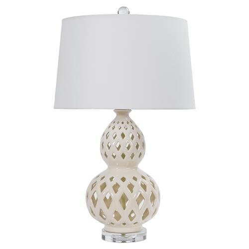 Ashkar Bazaar Ivory Ceramic Cut Ceramic Table Lamp | Kathy Kuo Home