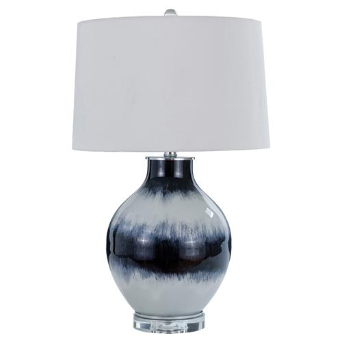 Caledonia Coastal Beach Indigo Ombre Glass Table Lamp | Kathy Kuo Home