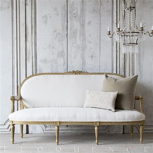 eloquence vintage french oval gold carved settee sofa 1940 kathy kuo home. Black Bedroom Furniture Sets. Home Design Ideas