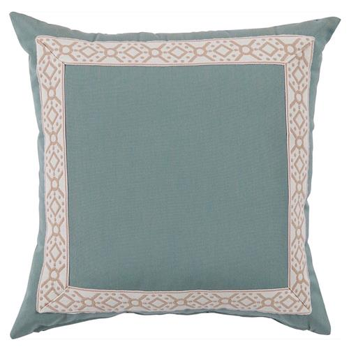 Perri Modern Global Trim Teal Outdoor Pillow - 22x22 | Kathy Kuo Home