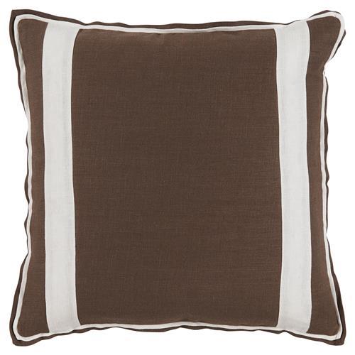 Modern Family Pillow Stripe : Bobbi Modern Classic Bold Stripe Brown Linen Pillow - 20x20 Kathy Kuo Home