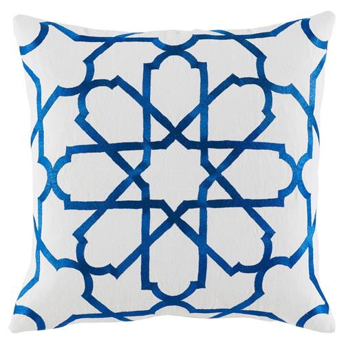Emmet Modern Embroidered Blue Tile White Pillow - 20x20 | Kathy Kuo Home