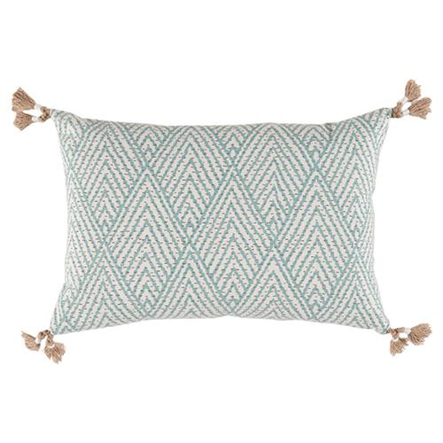 Reni Global Bazaar Sky Blue Stitch Linen Tassel Pillow - 13x19 | Kathy Kuo Home