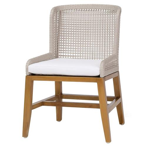 Palecek Vista Modern Classic Woven Rope Teak Outdoor Side Chair | Kathy Kuo Home