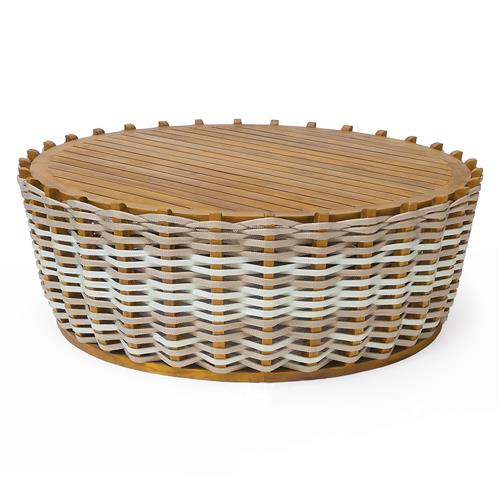 Palecek San Martin Modern Rope Wrapped Teak Outdoor Coffee Table | Kathy Kuo Home