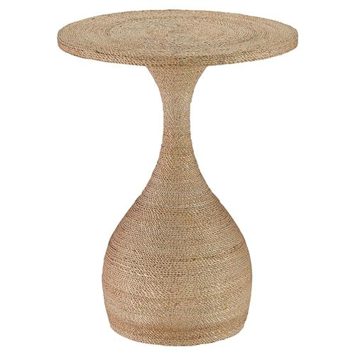 Treva Coastal Beach Rope Wrapped Gourd Side Table | Kathy Kuo Home