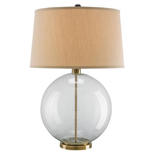 Cyprien  Coastal Beach Glass Sphere Bronze Table Lamp | Kathy Kuo Home