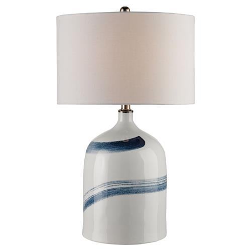 Damon Coastal Beach Blue Brushstrolke White Ceramic Table Lamp | Kathy Kuo Home