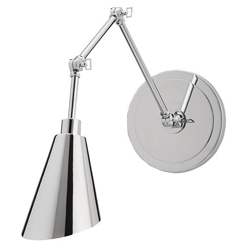 Bergren Modern Classic Silver Chrome Wall Sconce | Kathy Kuo Home