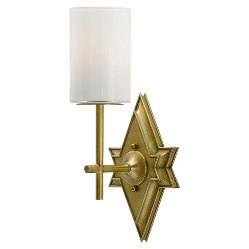Antique Wall Sconce Glass Shades : Dacio Regency Antique Brass Star Glass Shade Wall Sconce Kathy Kuo Home