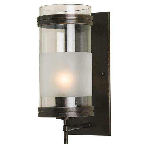 Carrick Industrial Loft Clear Frost Glass Iron Wall Sconce | Kathy Kuo Home
