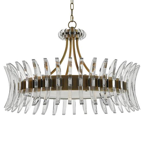 Lumley Modern Optic Crystal Round Brass Chandelier | Kathy Kuo Home