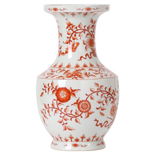Empress Global Orange Floral Ribbon Wide Neck Hand Painted Vase | Kathy Kuo Home