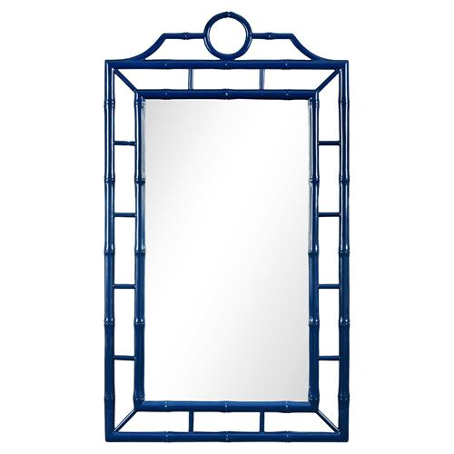 Bungalow 5 Chloe Global Bazaar Navy Blue Lacquer Bamboo Chinoiserie Wall Mirror | Kathy Kuo Home