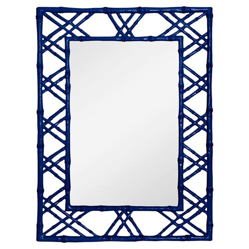 Bungalow 5 Claire Global Bazaar Navy Blue Lacquer Bamboo Woven Wall Mirror | Kathy Kuo Home