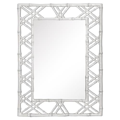 Bijou Global Bazaar White Lacquer Bamboo Woven Wall Mirror | Kathy Kuo Home