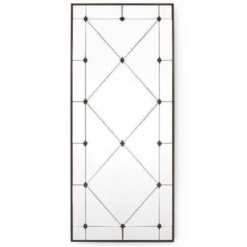 Carol Hollywood Regency Aged Gold Harlequin Wall Mirror - 48.5H | Kathy Kuo Home