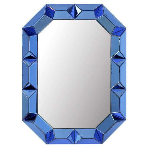 Gene Hollywood Regency Blue Framed Wall Mirror | Kathy Kuo Home