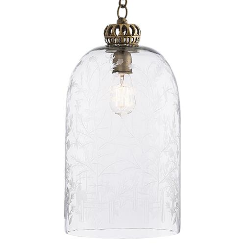 Arteriors Canton French Country Etched Glass Dome Pendant | Kathy Kuo Home