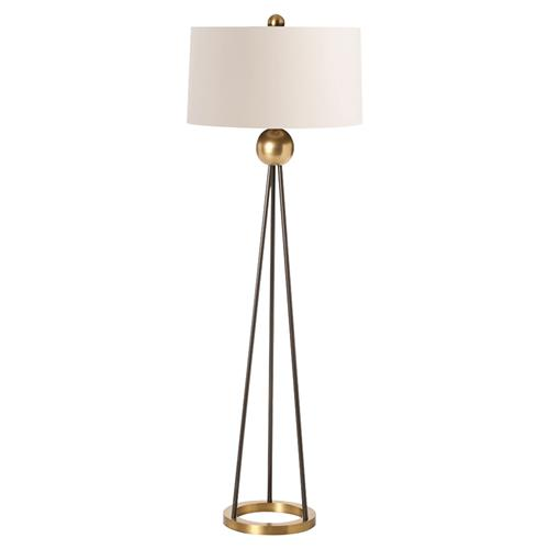 Tracie Modern Classic Antique Brass Ball Iron Floor Lamp | Kathy Kuo Home