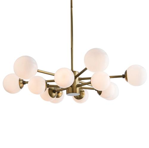 Arteriors Karrington Mid Century Antique Brass Opal Globe Chandelier | Kathy Kuo Home