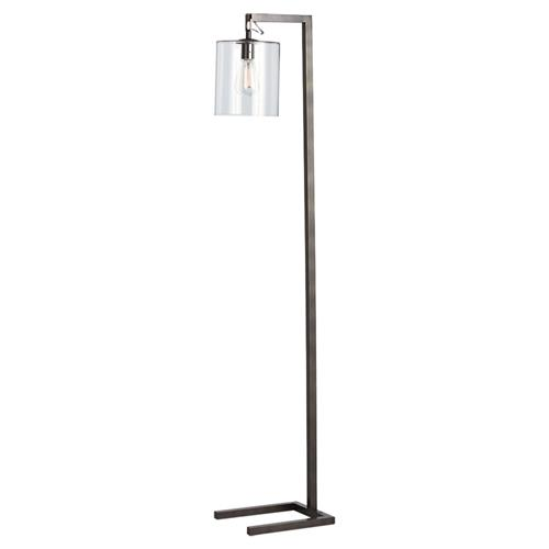 Arteriors Parish Industrial Modern Bronze Glass Cylinder Floor Lamp | Kathy Kuo Home