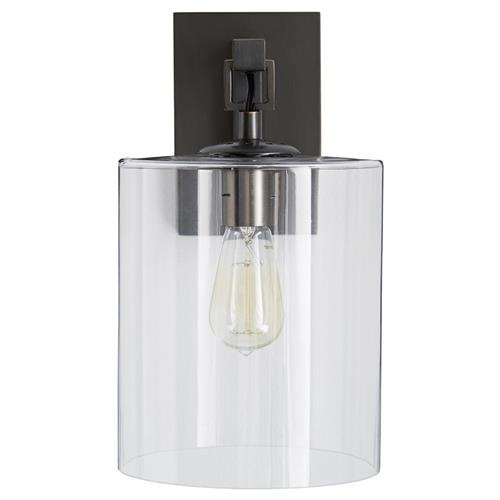 Arteriors Parrish Industrial Modern Bronze Glass Cylinder Wall Sconce | Kathy Kuo Home